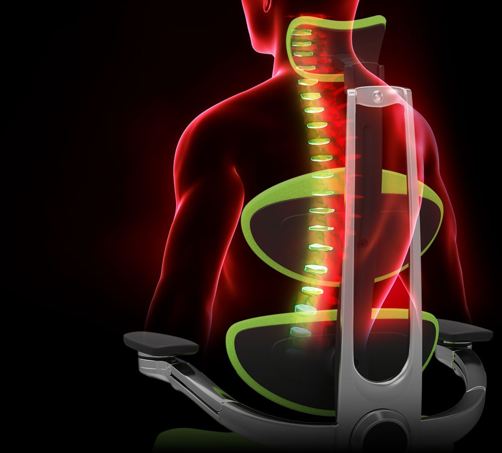 The Muuv chair's features and benefits support the spine